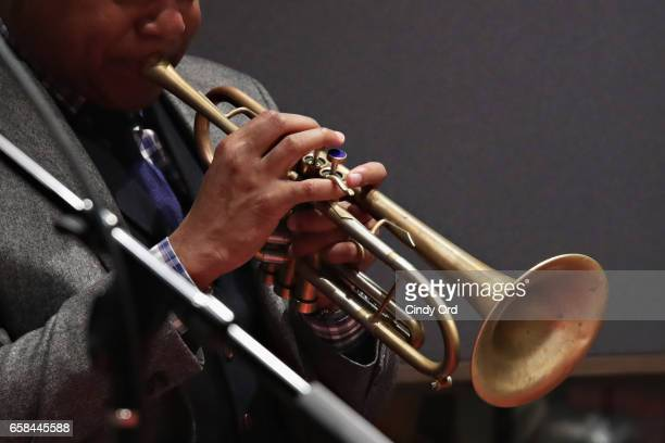 Wynton Marsalis and Jon Batiste perform the music of John Lewis at Spotify Studio for Jazz at Lincoln Center's Blue Engine Records on March 6 2017 in...