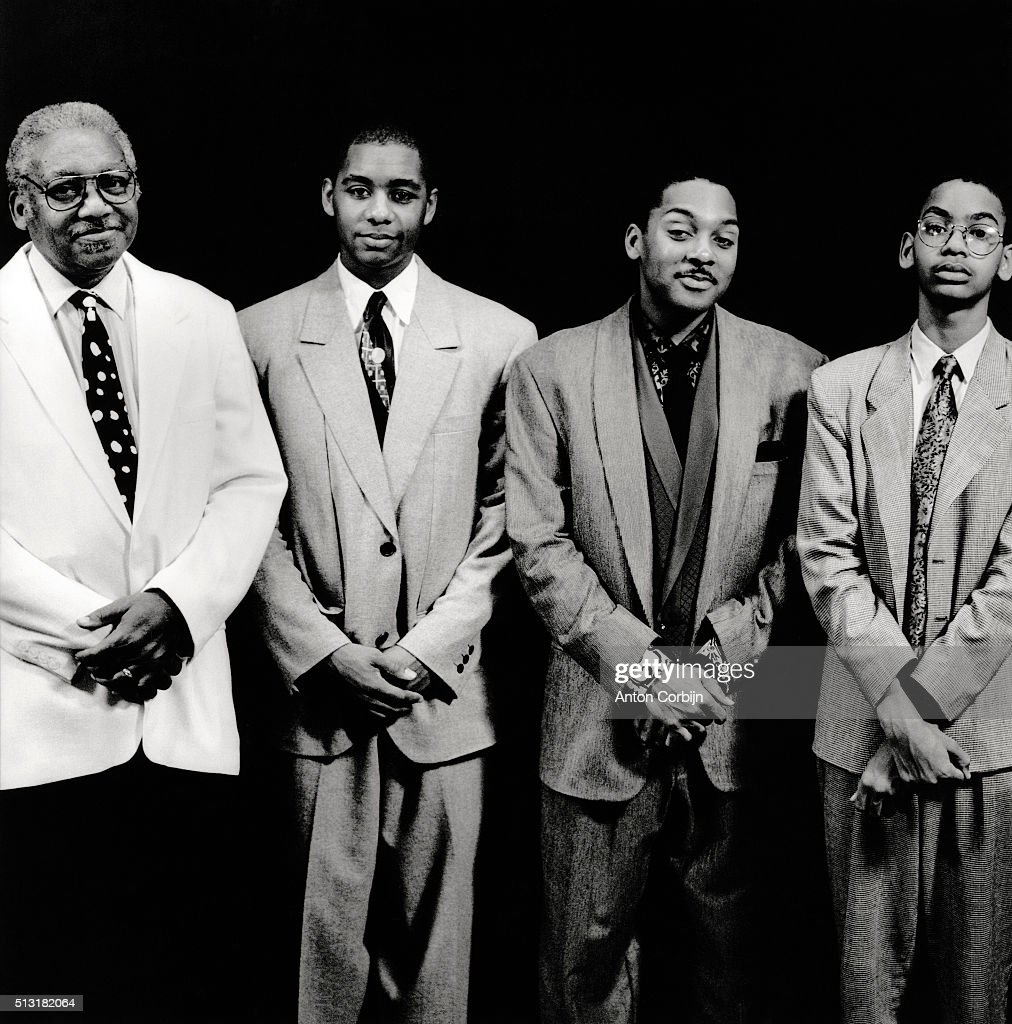 <a gi-track='captionPersonalityLinkClicked' href=/galleries/search?phrase=Wynton+Marsalis&family=editorial&specificpeople=215421 ng-click='$event.stopPropagation()'>Wynton Marsalis</a>, <a gi-track='captionPersonalityLinkClicked' href=/galleries/search?phrase=Branford+Marsalis&family=editorial&specificpeople=212811 ng-click='$event.stopPropagation()'>Branford Marsalis</a>, Ellis Marsalis and Jason Marsalis from The Marsalis family are photographed for Self Assignment on November 7, 1990 in New York City.