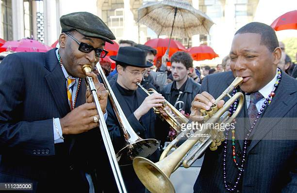 Wynton Marsalis leads a New Orleans style procession from Lincoln Center to the Time Warner Building at Columbus Circle in celebration of the opening...