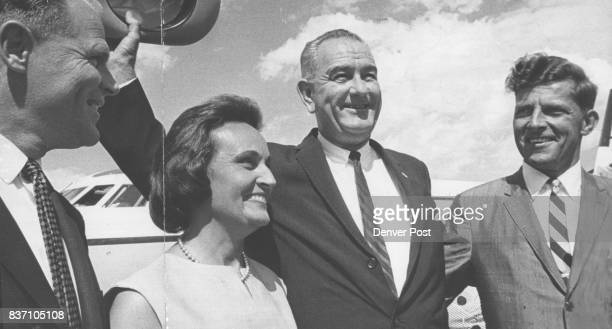 Wyoming officials greet vice president on Cheyenne Arrival Members of the party are Cheyenne Mayor Bill Nations Mrs Gale McGee Vice President Lyndon...