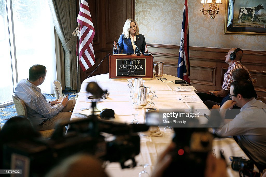 Wyoming Senate candidate Liz Cheney answers a question from a reporter at a news conference in the Little America Hotel and Resort in Cheyenne, Wyoming on July 17, 2013. Cheney, the daughter of former Vice President Dick Cheney, will run against longtime incumbent Sen. Mike Enzi (R-WY). Cheney launched her campaign yesterday following Enzi's announcement that he will run for a fourth term.