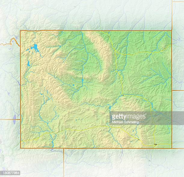 Wyoming, shaded relief map, USA