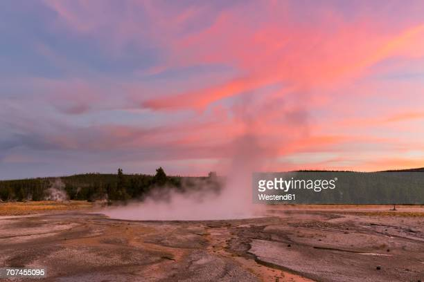 USA, Wyoming, Yellowstone National Park, Three Sisters Springs at afterglow