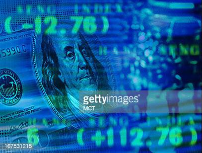 x 15' Business image Trading floor currency stock ticker superimposed on each other
