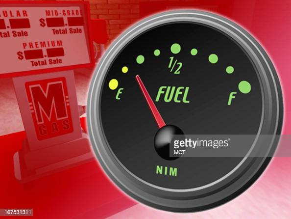 x 1535 in / 52x39 mm / 177x133 pixels Image of gas gauge pointing to empty superimposed over image of a gas pump