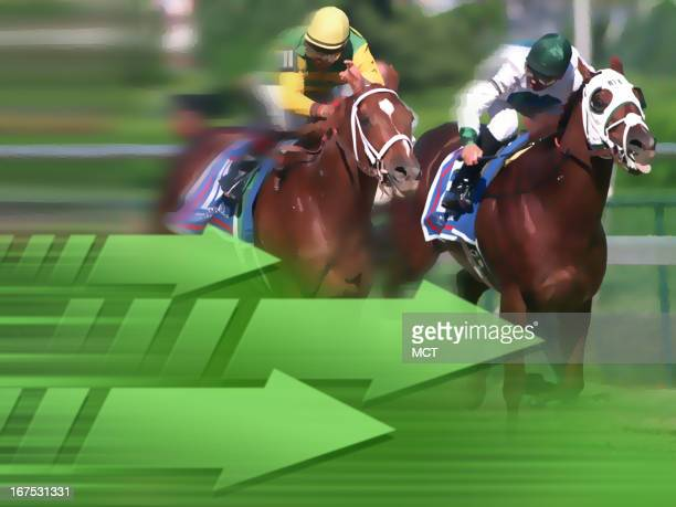 x 48 in / 164x123 mm / 558x419 pixels Image of horse race with green arrows in foreground