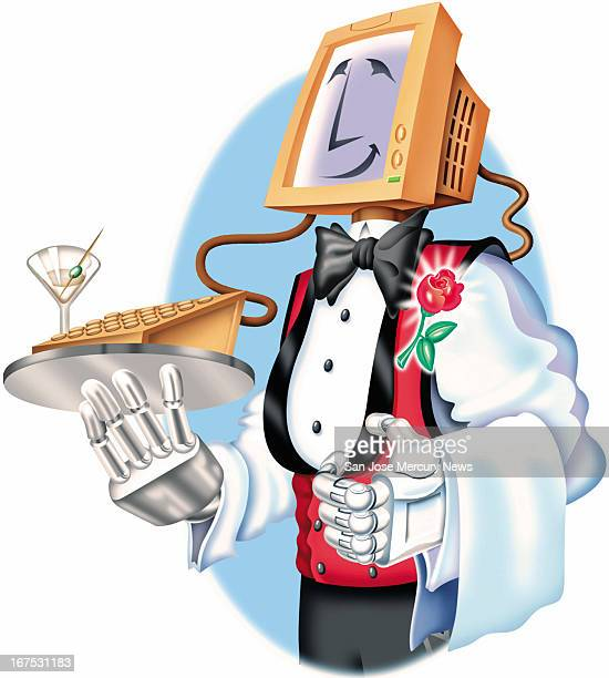 x 7'/164x178mm Steve Lopez color illustration of a smiling robot waiter with a computer monitor head and machine hands dressed in tuxedo shirt with...