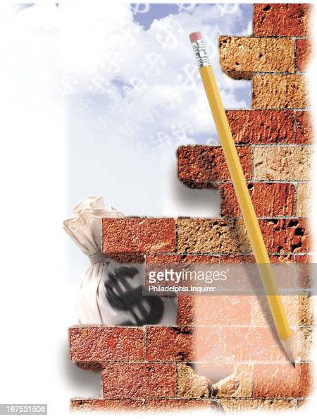 x 85 inches/164x216 mm/558x734 pixels Michael G Cothran color illustration of a brick wall standing between a pencil representing stock analysts and...