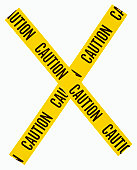 'x' made of yellow caution tape used to cordon off