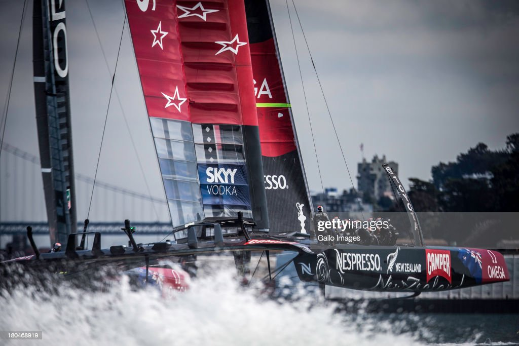4 x Olympic gold medallist Sir Ben Ainslie (GBR) as ORACLE TEAM USA tactician in the very back of the boat during day 4 of the America's Cup on September 12th, 2013 in San Francisco.