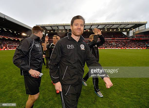 Xabi Alonso during the Liverpool All Star Charity Match at Anfield on March 29 2015 in Liverpool England