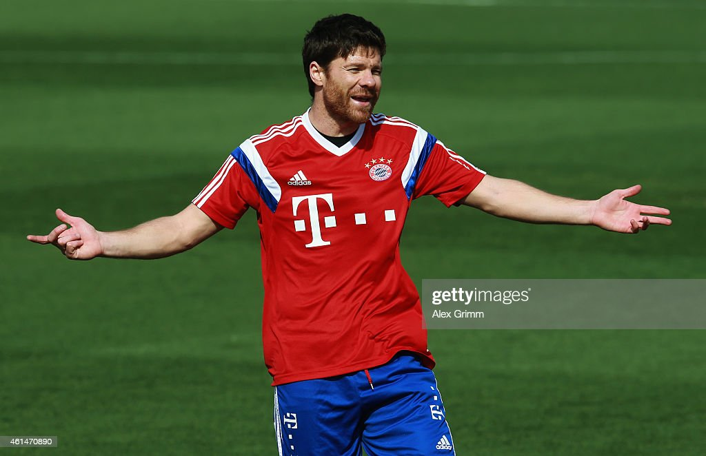 Xabi Alonso gestures during day 5 of the Bayern Muenchen training camp at ASPIRE Academy for Sports Excellence on January 13 2015 in Doha Qatar