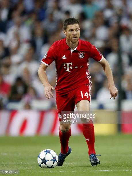Xabi Alonso of Bayern Munichduring the UEFA Champions League quarter final match between Real Madrid and Bayern Munich on April 18 2017 at the...