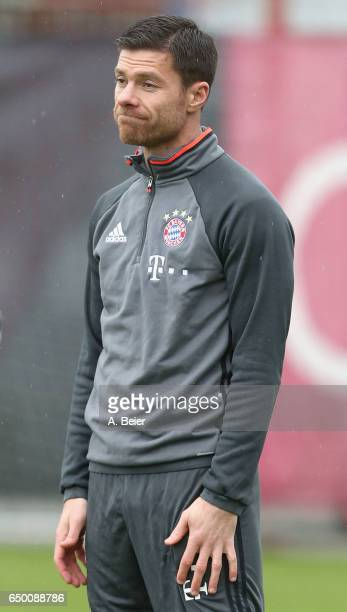 Xabi Alonso of FC Bayern Muenchen warms up during a training session at the club's Saebener Strasse training ground on March 9 2017 in Munich Germany...