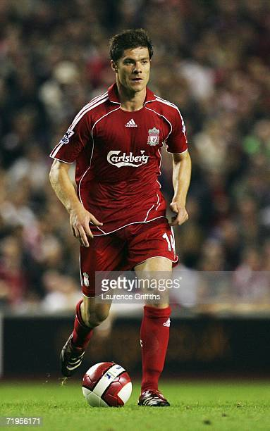 Xabi Alonso of Liverpool in action during the Barclays Premiership match between Liverpool and Newcastle United at Anfield on September 20 2006 in...