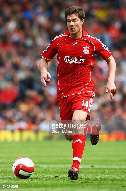 Xabi Alonso of Liverpool in action during the Barclays Premiership match between Fulham and Liverpool at Craven Cottage on May 5 2007 in London...