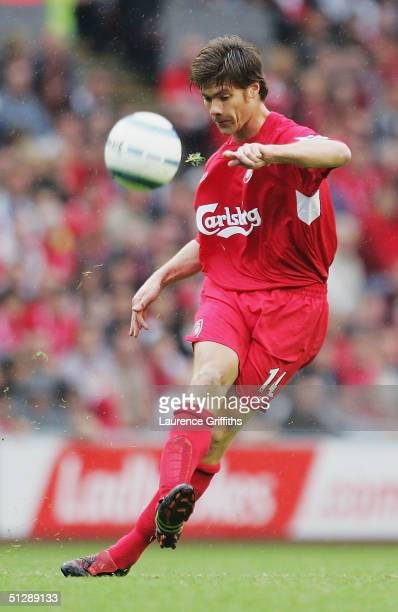 Xabi Alonso of Liverpool in action during the FA Barclays Premiership match between Liverpool and West Bromwich Albion at Anfield on September 11...