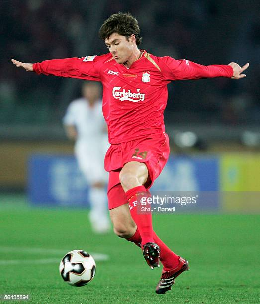 Xabi Alonso of Liverpool in action during the FIFA Club World Championship Toyota Cup 2005 match between Deportivo Saprissa and Liverpool at The...