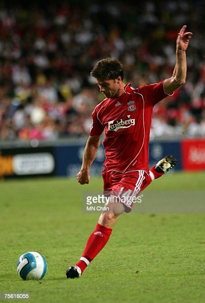Xabi Alonso of Liverpool in action during the preseason Barclays Asia Trophy match between Liverpool FC and South China FC at Hong Kong Stadium on...
