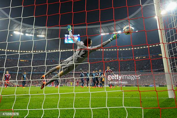 Xabi Alonso of Munich scores his team's sixth goal during the UEFA Champions League quarter final second leg match between FC Bayern Muenchen and FC...