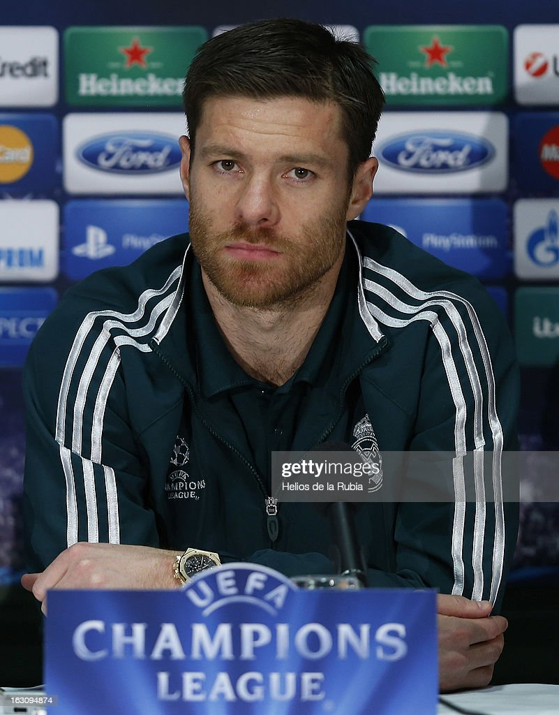 <a gi-track='captionPersonalityLinkClicked' href=/galleries/search?phrase=Xabi+Alonso&family=editorial&specificpeople=213833 ng-click='$event.stopPropagation()'>Xabi Alonso</a> of Real Madrid attends a press conference on the eve of their UEFA Champions League Round of 16 match against Manchester United at Old Trafford on March 4, 2013 in Manchester, England.