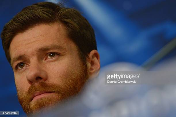 Xabi Alonso of Real Madrid reacts during a press conference ahead of the Champions League match between FC Schalke 04 and Real Madrid at VeltinsArena...