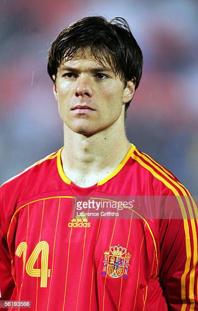 Xabi Alonso of Spain during the FIFA 2006 World Cup Playoff match between Slovakia and Spain on November 16 2005 at The Slovana Stadium in Bratislava...