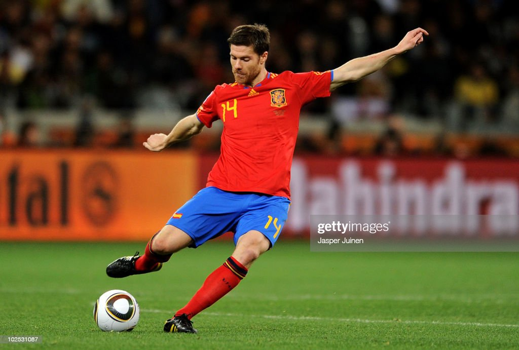 Xabi Alonso of Spain in action during the 2010 FIFA World Cup South Africa Round of Sixteen match between Spain and Portugal at Green Point Stadium...