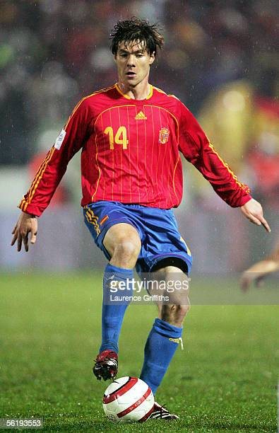 Xabi Alonso of Spain on the ball during the FIFA 2006 World Cup Playoff match between Slovakia and Spain on November 16 2005 at The Slovana Stadium...
