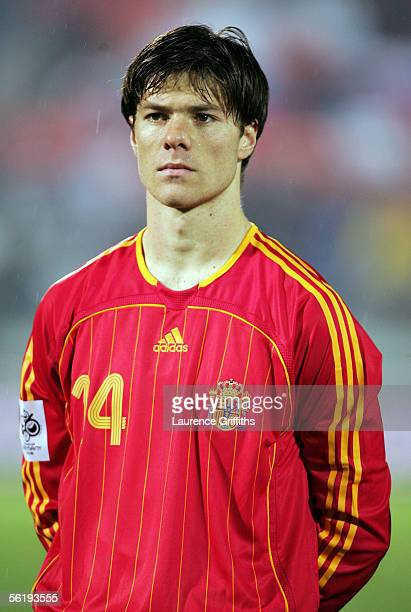 Xabi Alonso of Spain prior to the FIFA 2006 World Cup Playoff match between Slovakia and Spain on November 16 2005 at The Slovana Stadium in...