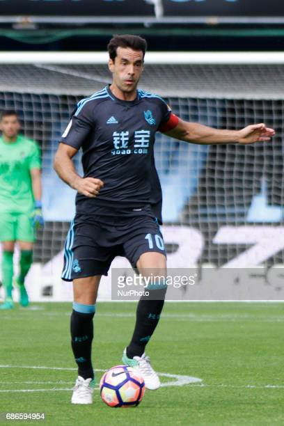 Xabi Prieto midfielder of Real Sociedad de Futbol drives the ball during the La Liga Santander match between Celta de Vigo and Real Sociedad de...