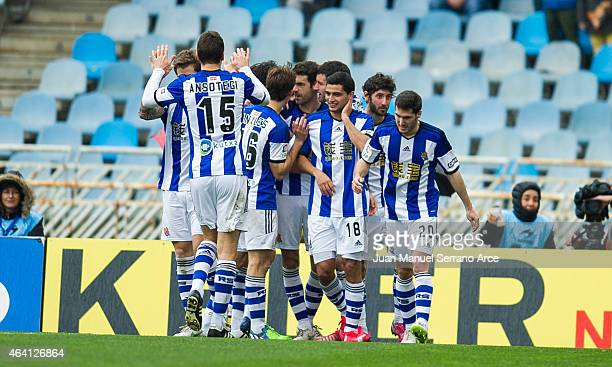 Xabier Prieto of Real Sociedad celebrates after scoring during the La Liga match between Real Sociedad and Sevilla FC at Estadio Anoeta on February...