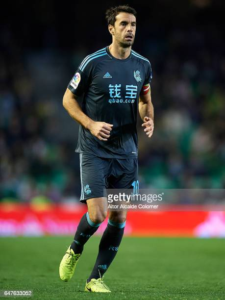 Xabier Prieto of Real Sociedad looks on during La Liga match between Real Betis Balompie and Real Sociedad de Futbol at Benito Villamarin Stadium on...
