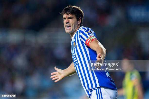 Xabier Prieto of Real Sociedad reacts during the La Liga match between Real Sociedad de Futbol and RCD Espanyol at Estadio Anoeta on October 23 2017...