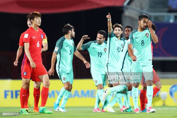 Xadas of Portugal celebrates with teammates after scoring a goal during the FIFA U20 World Cup Korea Republic 2017 Round of 16 match between Korea...