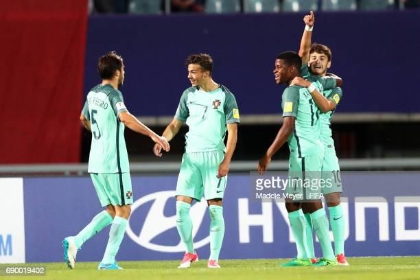Xadas of Portugal celebrates with Yuri Ribeiro Diogo Goncalves and Xande Silva after scoring a goal during the FIFA U20 World Cup Korea Republic 2017...