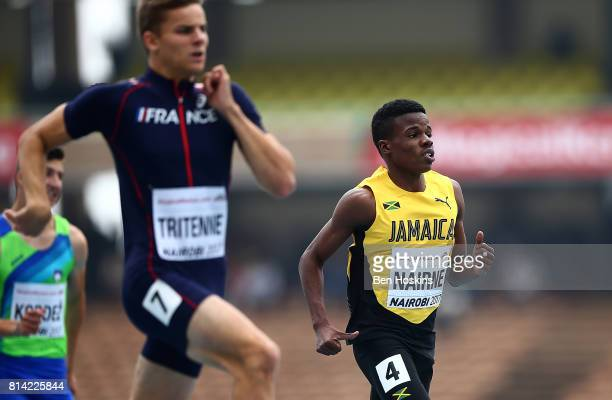 Xaiver Nairne of Jamaica in action during the heats of the boys 200m on day three of the IAAF U18 World Championships at the Kasarani Stadium on July...
