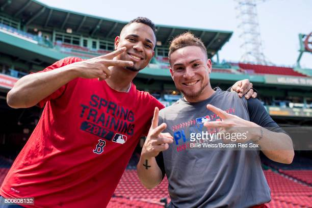 Xander Bogaerts and Christian Vazquez of the Boston Red Sox pose for a photograph before a game against the Los Angeles Angels of Anaheim on June 24...