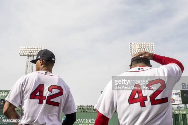 Xander Bogaerts and Pablo Sandoval of the Boston Red Sox wear the number 42 in honor of Jackie Robinson Day before a game against the Tampa Bay Rays...