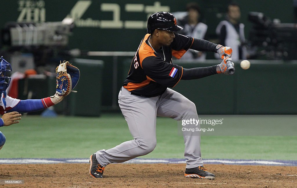 Xander Bogaerts # 1 of Netherlands bats during the World Baseball Classic Second Round Pool 1 game between the Netherlands and Cuba at Tokyo Dome on March 8, 2013 in Tokyo, Japan.