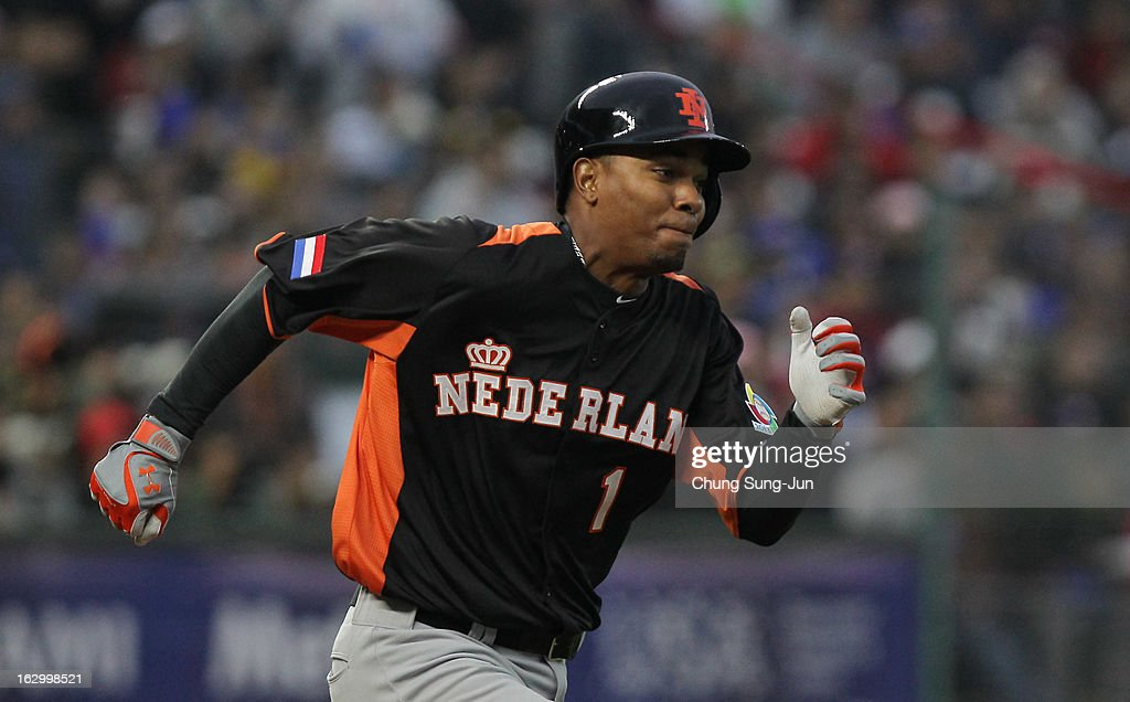 Xander Bogaerts of Netherlands run into first base in the eighth inning during the World Baseball Classic First Round Group B match between the Netherlands and Chinese Taipei at Intercontinental Baseball Stadium on March 3, 2013 in Taichung, Taiwan.