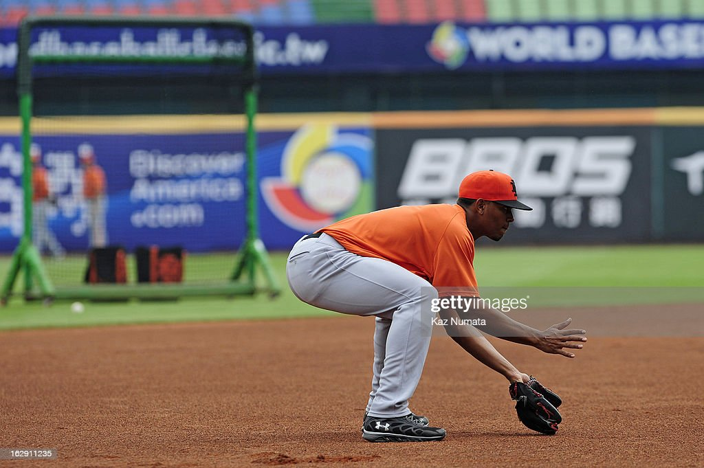 Xander Bogaerts #1 of Team Netherlands fields ground balls during the World Baseball Classic workout day at Taichung Intercontinental Baseball Stadium on March 1, 2013 in Taichung, Taiwan.