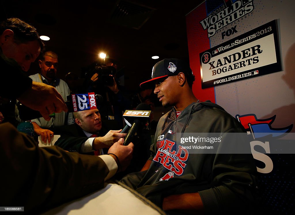 Xander Bogaerts #72 of the Boston Red Sox answers questions during 2013 World Series Media Day at Fenway Park on October 22, 2013 in Boston, Massachusetts. The Red Sox host the Cardinals in Game 1 on October 23, 2013.