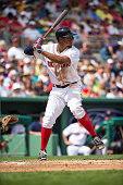 Xander Bogaerts of the Boston Red Sox bats against the Minnesota Twins during a spring training game on March 2 2016 at JetBlue Park in Fort Myers...