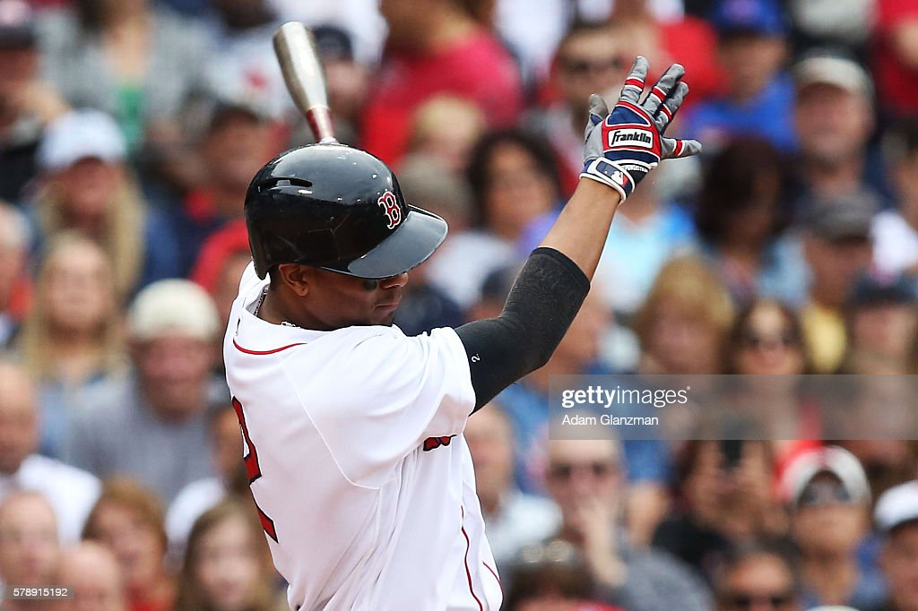 Xander Bogaerts of the Boston Red Sox bats base during the game against the Tampa Bay Rays at Fenway Park on July 9 2016 in Boston Massachusetts