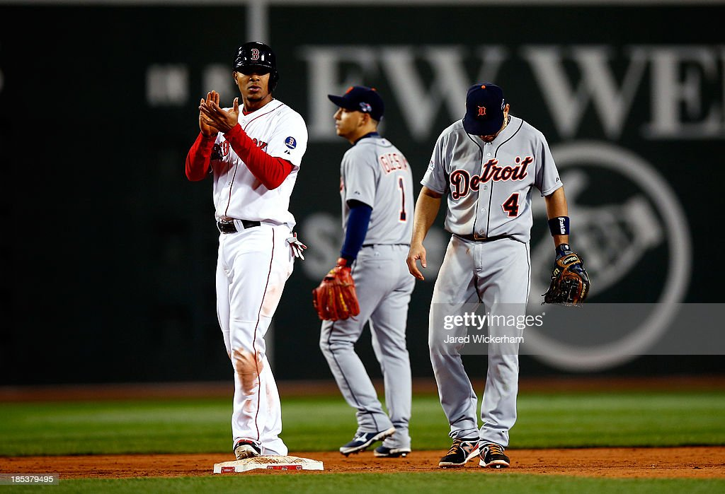 <a gi-track='captionPersonalityLinkClicked' href=/galleries/search?phrase=Xander+Bogaerts&family=editorial&specificpeople=9461957 ng-click='$event.stopPropagation()'>Xander Bogaerts</a> #72 of the Boston Red Sox claps on second base after being called safe in the seventh inning against the Detroit Tigers during Game Six of the American League Championship Series at Fenway Park on October 19, 2013 in Boston, Massachusetts.
