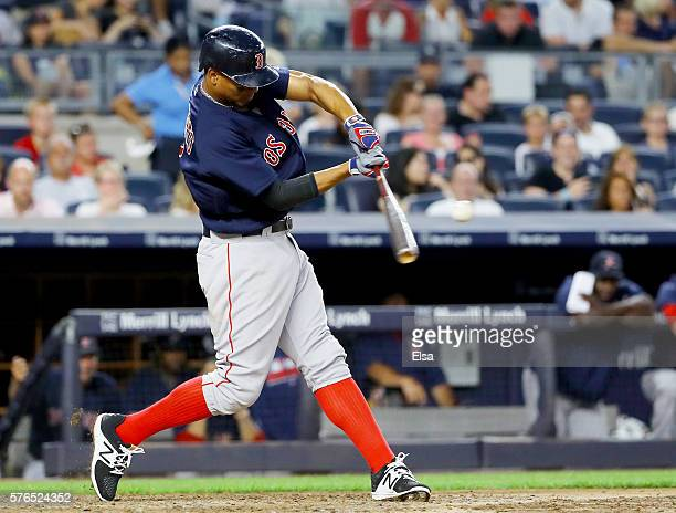 Xander Bogaerts of the Boston Red Sox hits a two run homer in the sixth inning against the New York Yankees at Yankee Stadium on July 15 2016 in the...