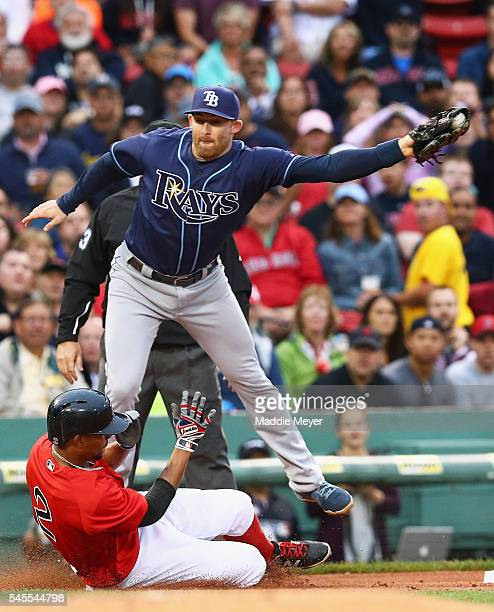 Xander Bogaerts of the Boston Red Sox is tagged out at third by Evan Longoria of the Tampa Bay Ray during the first inning at Fenway Park on July 8...
