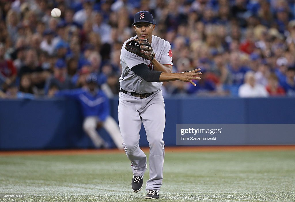 <a gi-track='captionPersonalityLinkClicked' href=/galleries/search?phrase=Xander+Bogaerts&family=editorial&specificpeople=9461957 ng-click='$event.stopPropagation()'>Xander Bogaerts</a> #2 of the Boston Red Sox makes a throwing error in the sixth inning during MLB game action against the Toronto Blue Jays on July 23, 2014 at Rogers Centre in Toronto, Ontario, Canada.