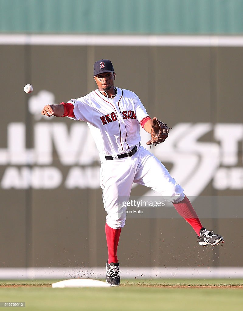 Xander Bogaerts #2 of the Boston Red Sox makes the play on the ground ball during the fourth inning of the Spring Training Game against the New York Yankees on March 15, 2016 at Jet Blue Park at Fenway South, Fort Myers, Florida.